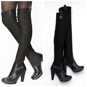 DKNY Black Leather Stretch Over The Knee Boots